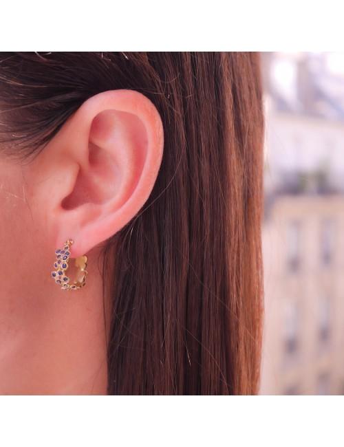 Anais Rheiner boucles d oreilles or jaune saphirs bleu