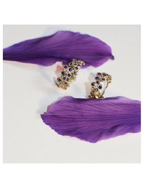 Anais Rheiner earring yellow gold and blue sapphires