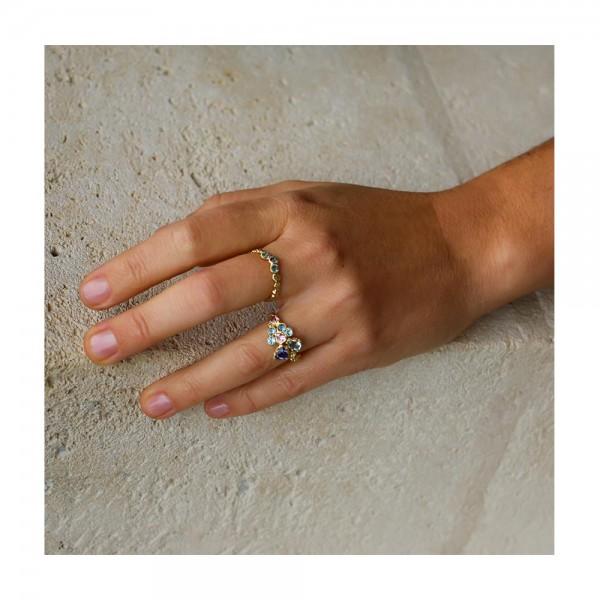 Anais Rheiner  18 carat yellow gold and precious stones aquamarine iolite and pink tourmaline