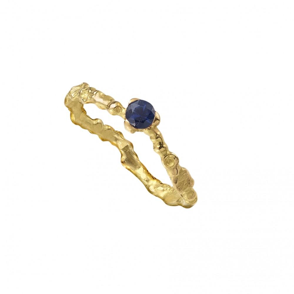 Anais Rheiner bague or jaune et sapphire bleu