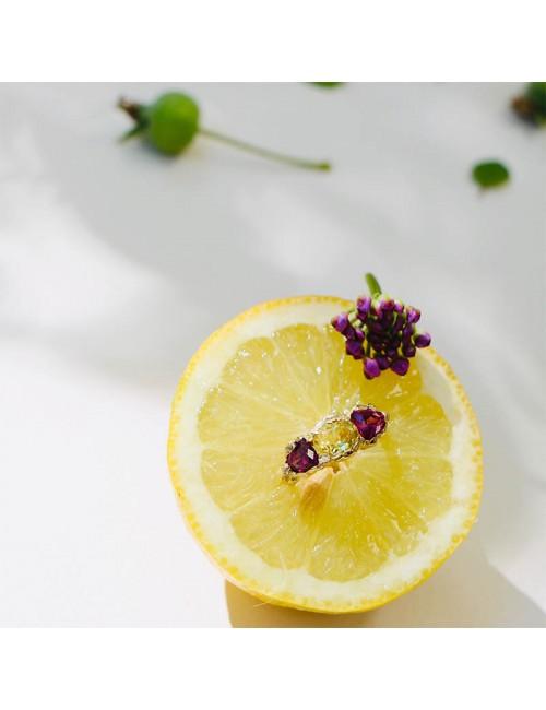 Anais Rheiner bague or jaune 18 carat grenat rose grenat jaune