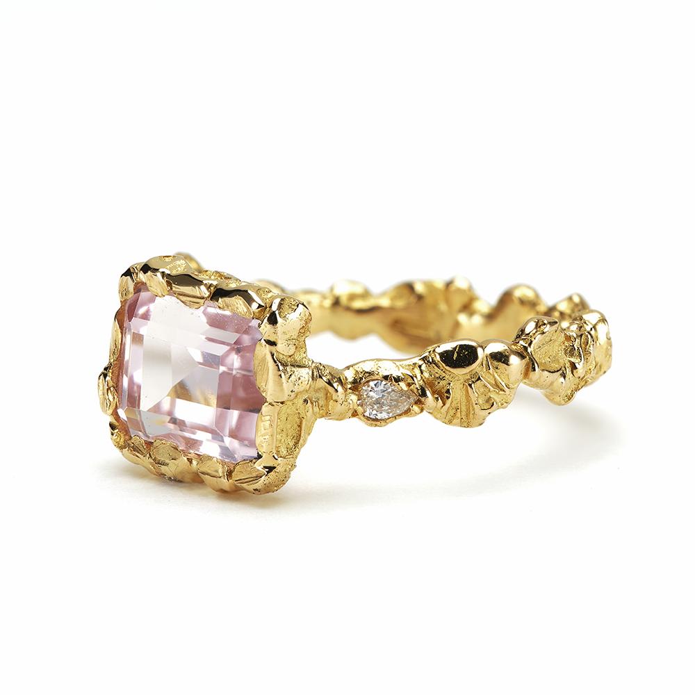 Anais Rheiner Bague Tendresse d'aurore or jaune 18 carat Morganite et diamants