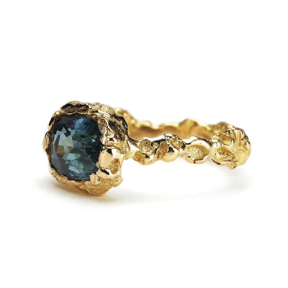 Anais Rheiner Bague Rayons célestes or jaune 18 carat saphire bleu vert
