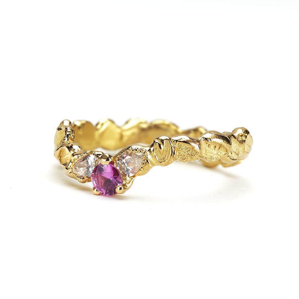 Anais Rheiner bague Épis de lumièr or jaune 18 carats saphir rose et diamants